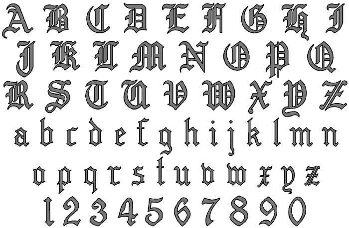 Tattoo alphabet stock photos