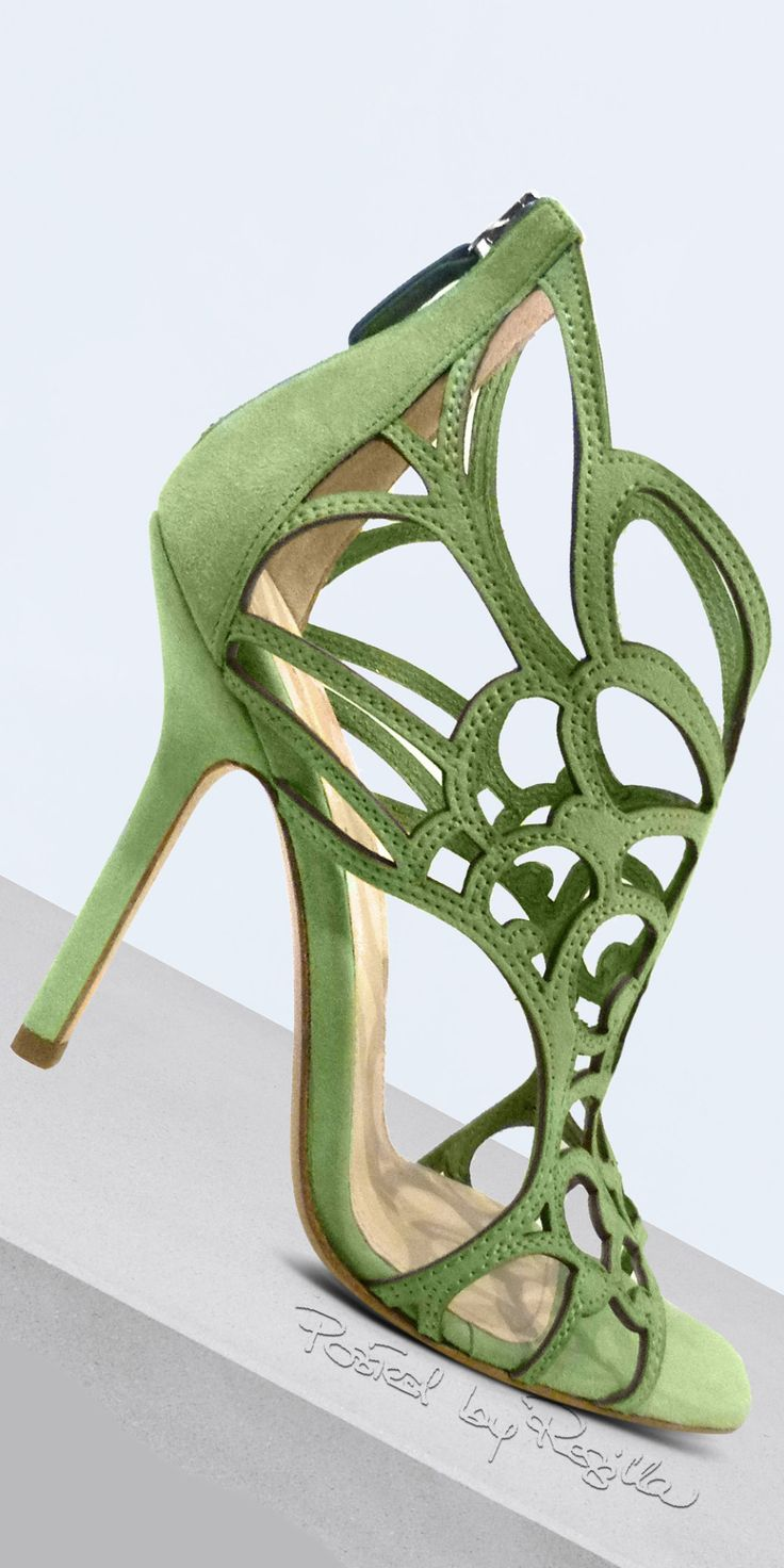 Ermanno Scervino ~ Spring Green Suede Cage Sandal w Heel Zipper, 2015