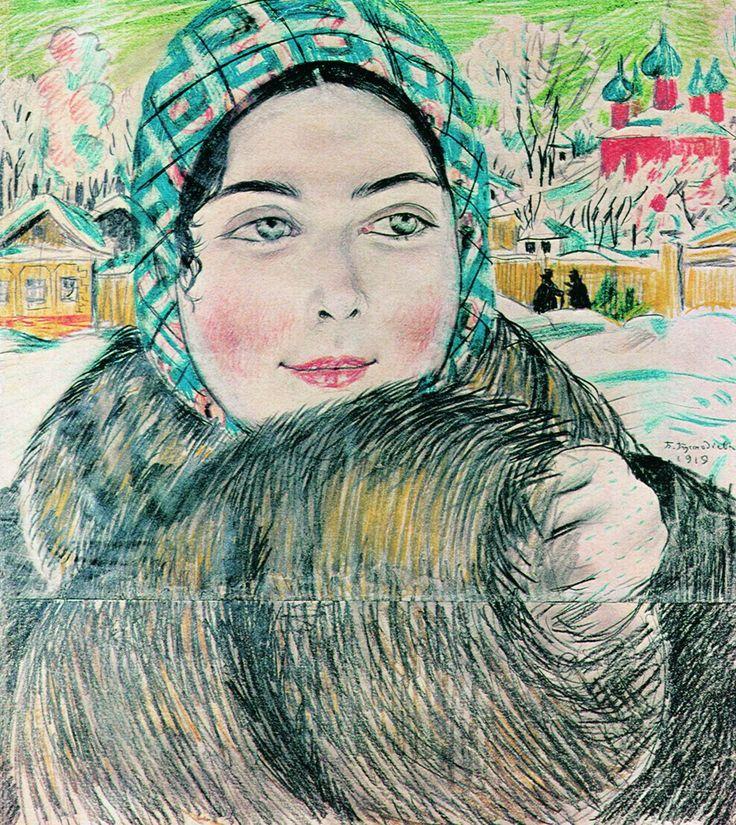 Вчера был день рождения Кустодиева: lilac2012. Молодая купчиха в клетчатом платочке, 1919 г. Государственный Русский музей, С.-Петербург.