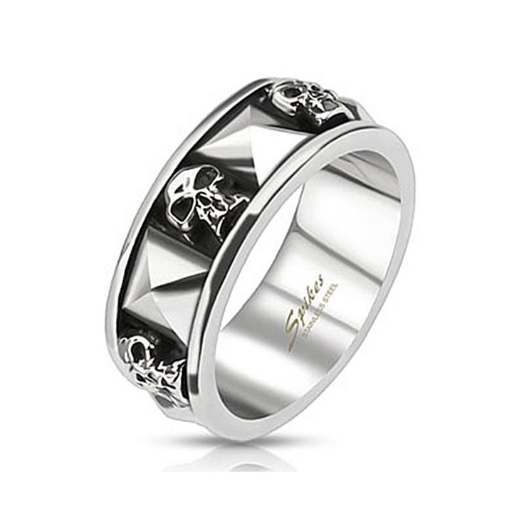 Skull and Pyramid Combination Cast Band Ring, Men's