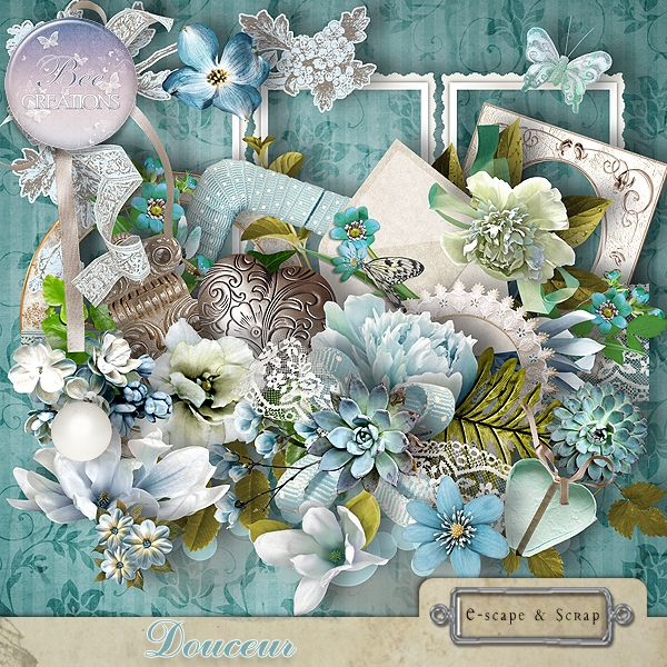 **NEW** Douceur by Bee Creation  This kit includes 120 elements and 22 papers All items are made in png format at 300dpi the papers are jpg files 3600 x 3600 300 dpi Available @  https://www.e-scapeandscrap.net/boutique/index.php?main_page=index&cPath=113_219&zenid=fbc2d845b59e97bbe070191c1e1cbfea http://scrapfromfrance.fr/shop/index.php?main_page=index&manufacturers_id=102 http://digitalscrapdesigns.com/digitalscrapstore/index.php?main_page=index&manufacturers_id=125