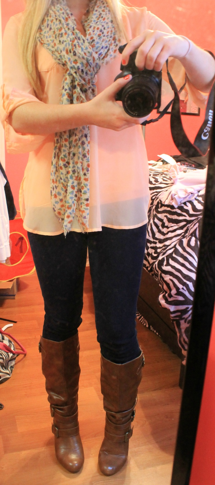 top from rue 21, jeans from hollister, boots from famous footwear  scarf from target! early spring outfit! :)