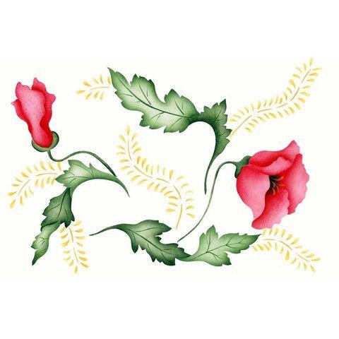 Flower Stencils Poppies Floral Amp Vine Stencil Royal