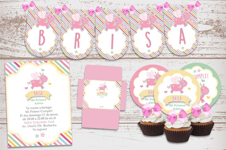 "Kit Imprimible ""Unicornio Bebe Rosa"" Decoración Candy Bar Fiestas de cumpleaños nena. Bautismo. 1 Añito. Baby Shower."