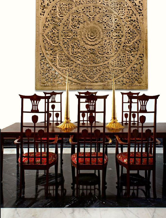 Decorative Wall Art Panel Hand Carved Teak Wood Hanging Dinning Room Design With