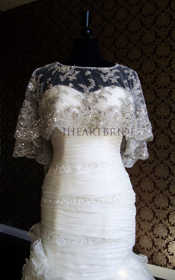 Modern Bride Platinum Caplet Beaded Lace Super Bling