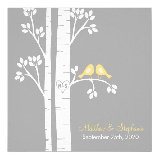 Love Birds in Birch Trees Personalized Invite