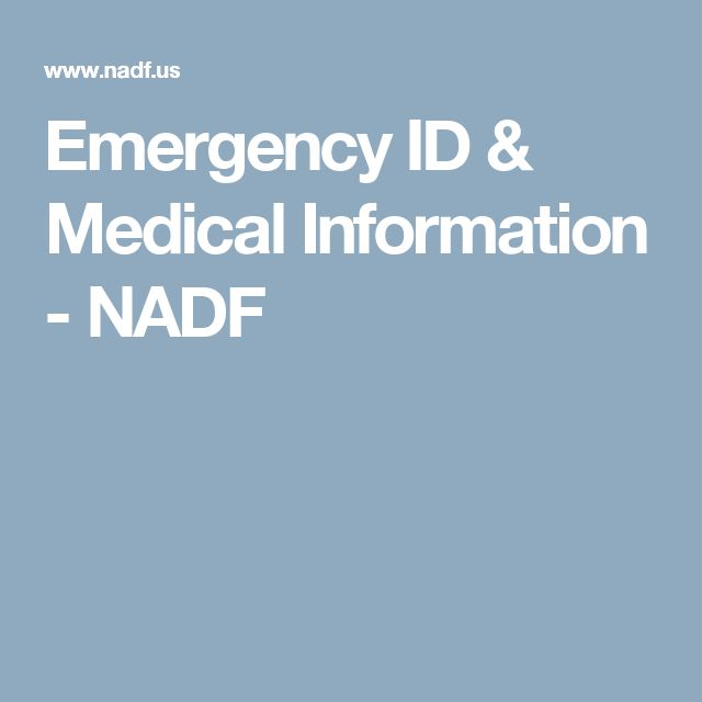 Emergency ID & Medical Information - NADF