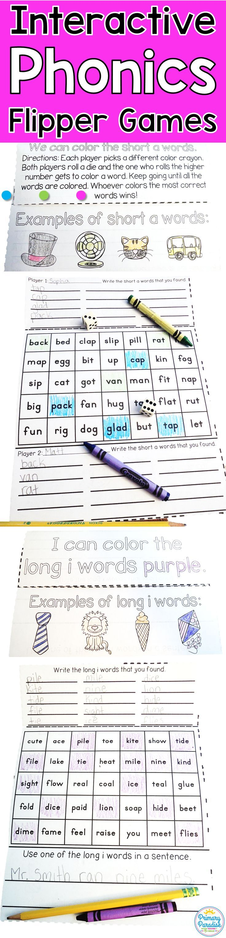 Phonics flipper interactive games are great for kindergarten, first grade, and second grade students. Fun, engaging games to play in pairs or by themselves to practice short vowel, long vowel, and digraphs. Dice games