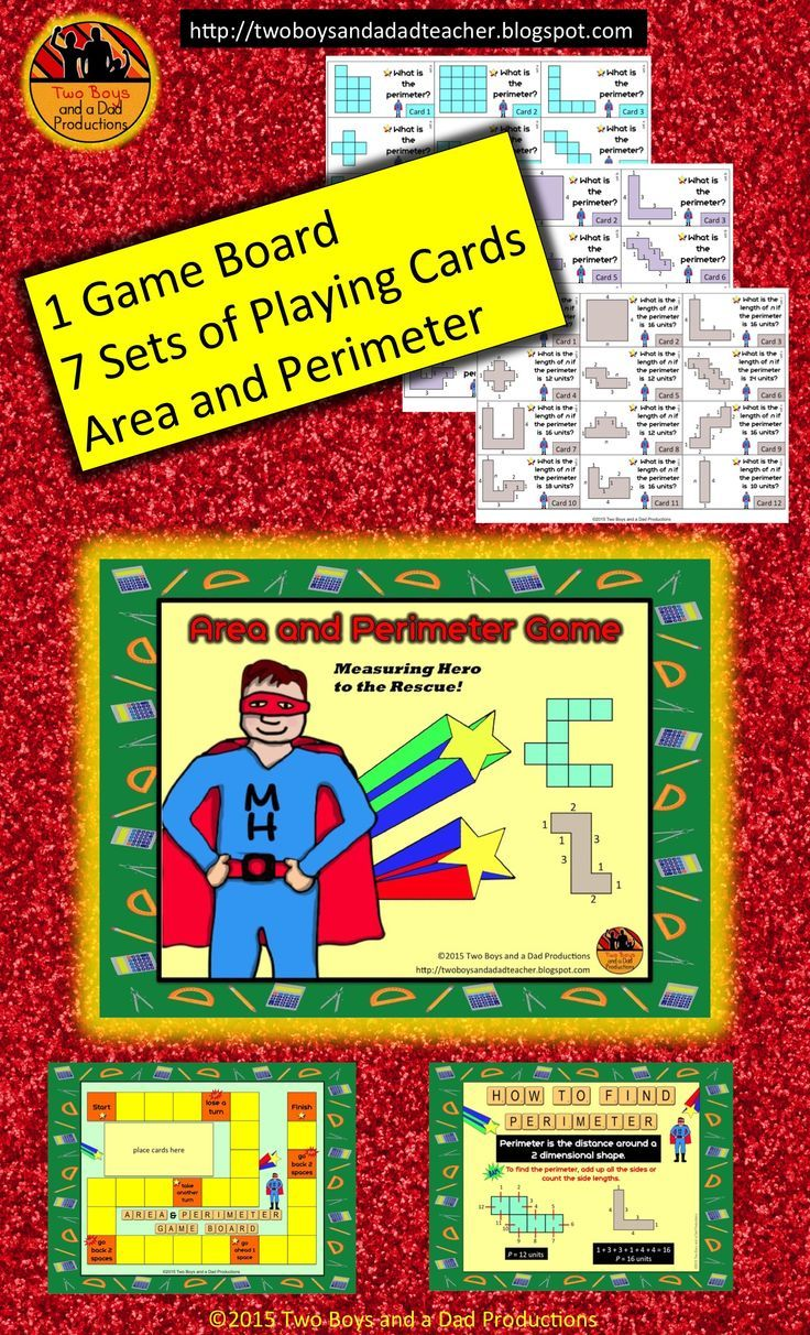 This area and perimeter game gives students practice in finding the area and perimeter of two dimensional shapes in various ways. There is one game board and 7 sets of cards. Each card set has the students find the area or perimeter in a different way. $4.00