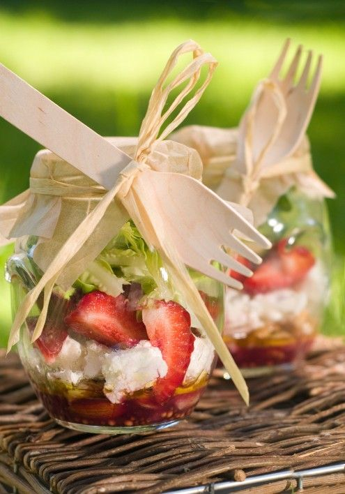 Adorable fun with the jars! tie a spoon or a fork to the jar for a different way to serve the dessert or fresh cut fruits at your wedding.