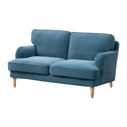 IKEA - STOCKSUND, Canapé 2 places, Ljungen bleu, brun clair, , Offre un confort et un soutien optimum car le coussin épais possède un noyau en ressorts ensachés ainsi qu'une couche supérieure en mousse et fibres polyester.Le grand angle du siège permet de s'asseoir plus confortablement sur le canapé.Le noyau de ressorts ensachés est solide et conserve longtemps sa forme et son confort.La housse est facile à entretenir car elle est amovible et lavable en machine.Garantie 10 ans. Détails des…