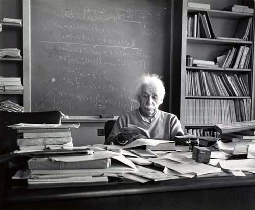 The Desk Of A Genius: Albert Einstein's theory of relativity labeled him a scientific genius one of the most influential physicists of our time.  This is a photograph of his New Jersey desk that was taken the day he died, April 15, 1955.     estherbubley.com