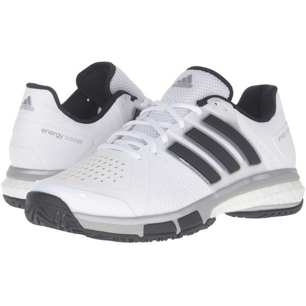 adidas Tennis Energy Boost (White/Black/Metallic Onix) Men's Tennis... ($175) ❤ liked on Polyvore featuring men's fashion, men's shoes, men's sneakers, mens tennis sneakers, mens lace up shoes, mens tennis shoes, adidas mens sneakers and mens metallic gold sneakers