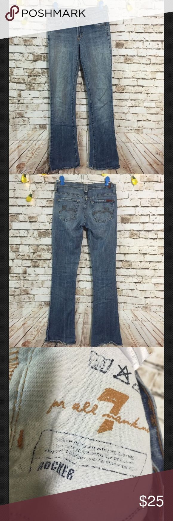 """7 for all mankind Sz 24 rocker boot cut jeans 31"""" inseam and 7.5 front rise. in great condition! bundle & save or ask for discounted shipping, we add new inventory everyday so come back & check again. Also. Ask for discount if you are a repeat buyer 7 For All Mankind Jeans Boot Cut"""