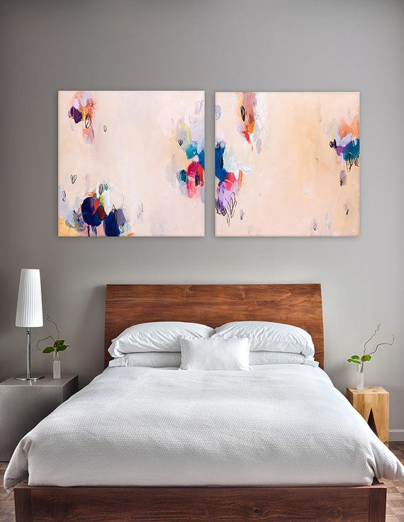 Large abstract painting 48x24 light melon yellow painting two panels original art for How much to paint a two bedroom apartment