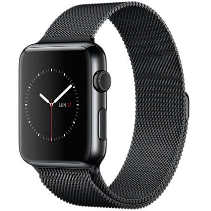 Apple Watch - Caixa de 42 mm preto-espacial de aço inoxidável e pulseira preto-espacial estilo milanês - Apple (BR)