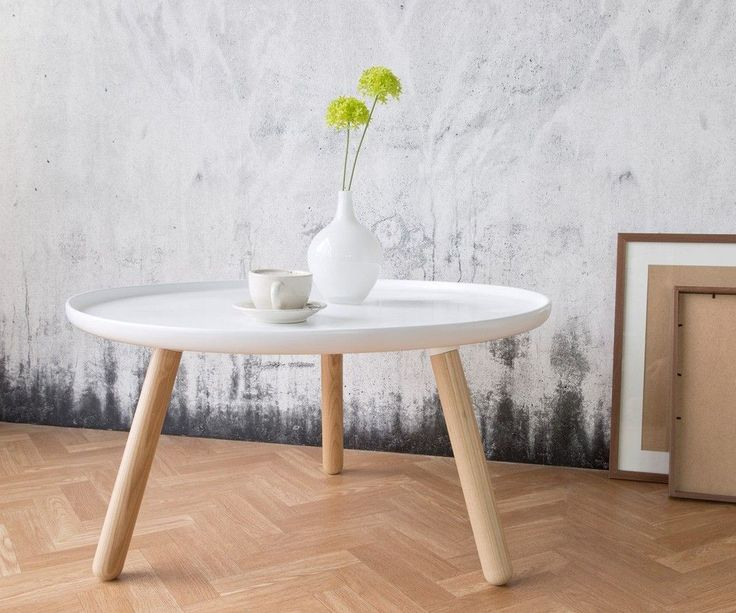 Beistelltisch Alexej 78cm Weiss Beine Natur Bauhausstil