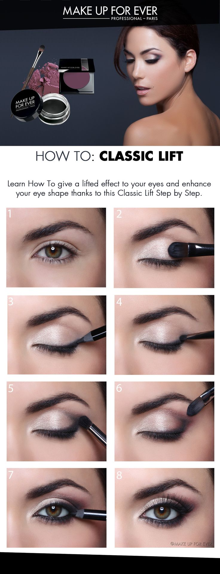 Beautiful, classic eye lift makeup.