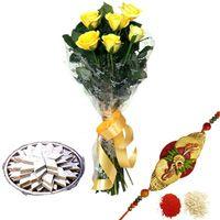 Yellow Roses N Kaju Katli
