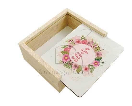 Scatola portaoggetti in legno Cerhio di fiori