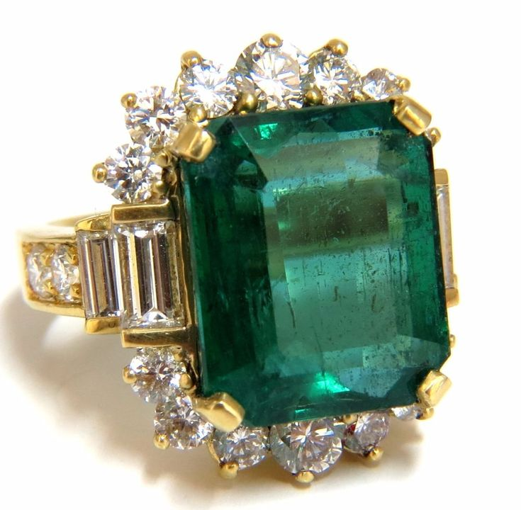 "GIA Certified 17.60ct natural green emerald diamonds ring 18kt ""F1"" #Unbranded #SolitairewithAccents #Engagement"