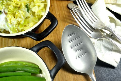 Pretty Little Silver - 'Food Tastes Better With Family' Personalised Hand Stamped Spoon £18 www.prettylittlesilver.co.uk