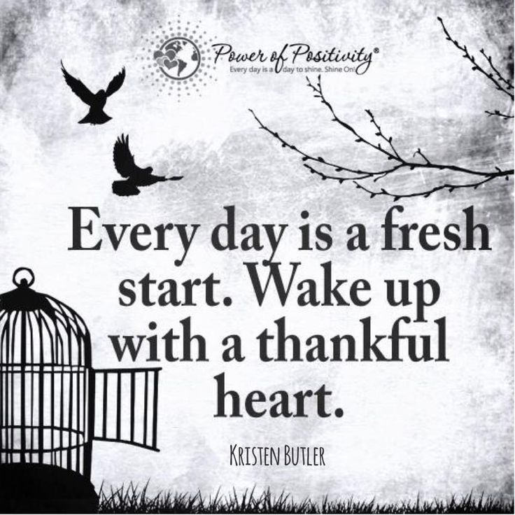 Every day is a fresh start. Wake up with a thankful heart. - Kristen Butler  #powerofpositivity #positivewords #positivethinking #inspiration #quotes