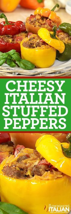 Cheesy Italian Stuffed Peppers start with cheesy Italian sausage, fire roasted tomatoes and orzo pasta. It only gets better from there. An easy recipe that goes from prep to plate in 30 minutes makes this one a keeper!