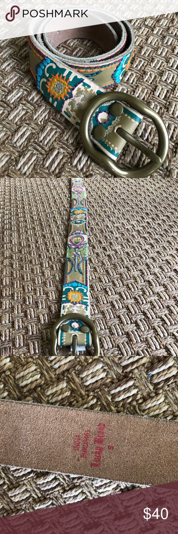 Lucky Brand Belt Beautiful embroidered and painted Lucky Brand belt. Tan and colorful. Never worn Lucky Brand Accessories Belts