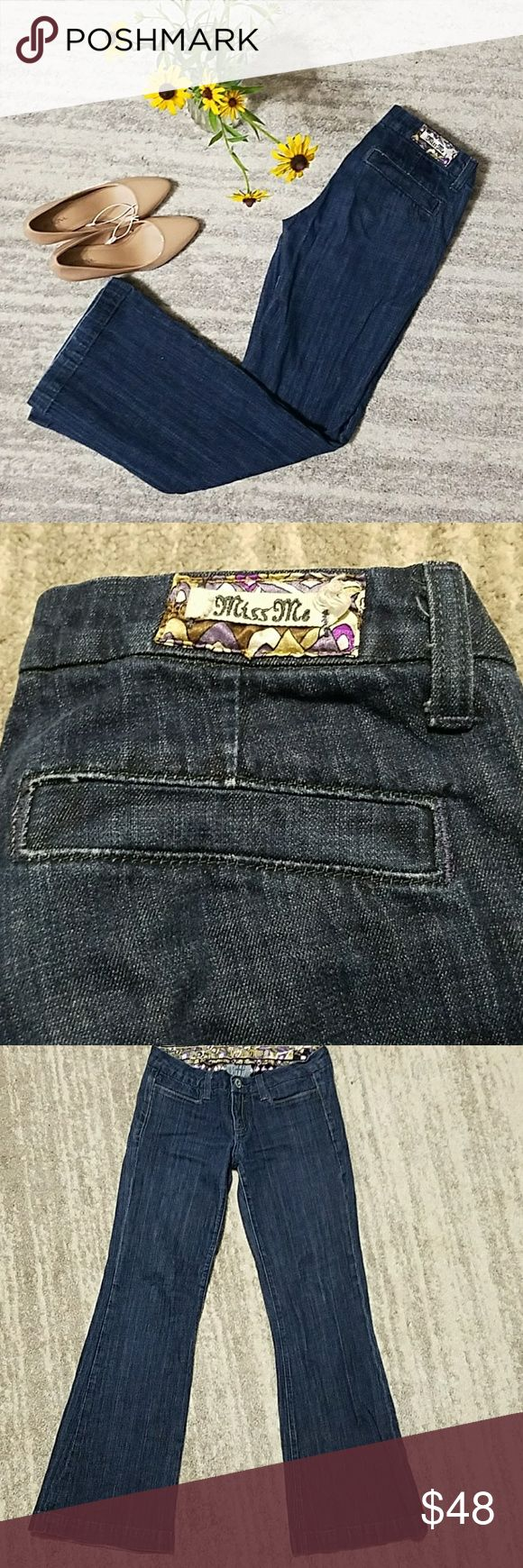 EUC Miss Me Dark Rinse Jeans Boot cut, dark rinse jeans. Perfect for work without the bold distracting pockets, but the same amazing quality of all other Miss Me jeans! Miss Me Jeans Boot Cut
