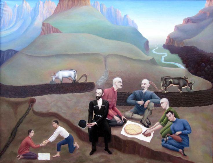САБАНОВ ХАДЖУМАР ТАЗЕЕВИЧ самобытный художник РСО-Алания НАРОДНЫЙ ПОЭТ ОСЕТИИ КОСТА ХЕТАГУРОВ В ГОСТЯХ У ПАХАРЕЙ горы Осетии