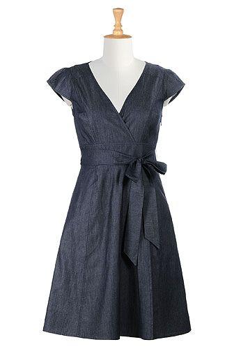 I <3 this Sash tied denim chambray dress from eShakti