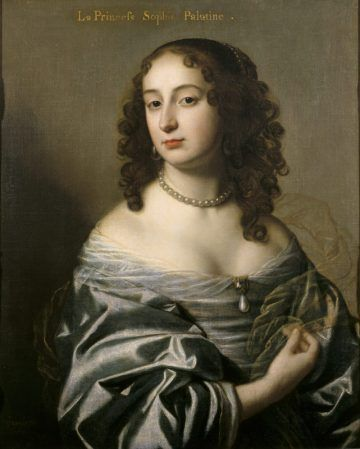 """Princess Sophia of the Palatinate (1630-1714), daughter of Frederick and Eizabeth, the """"Winter King and Queen"""" of Bohemia.  Elizabeth was James I's daughter, and through her, Sophia's son George of Hanover would eventually become George I of Britain.  (In fact, had she lived a few months longer, she herself would have been queen.)"""