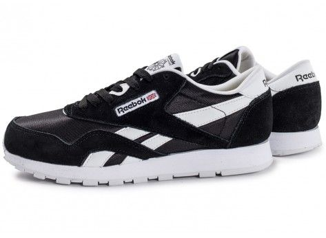 Chaussures Reebok Classic Nylon Junior noire et blanche vue extérieure