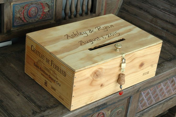 Personalized  French Wine Crate Storage Box  Wedding Card  Box with a Card Slot and  Lock and Key - pinned by pin4etsy.com