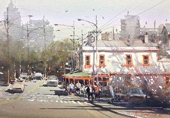 Joseph Zbukvic - Sunny Corner, Carlton 33x23cm