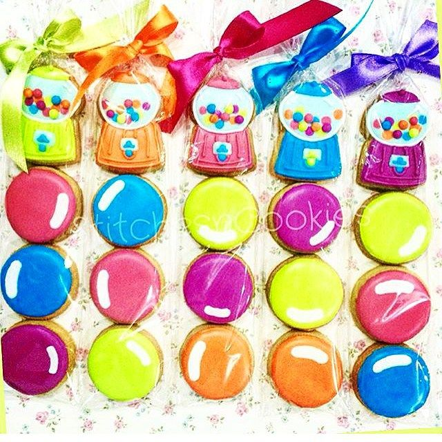 """We just love these mini Gumball machine and gum balls from @stitchesncookies! Made using our mini """"Gumball Machine Cookie Cutter"""" ☺️."""