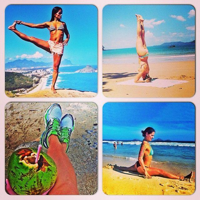 #atitudeboaforma: Top 4 exercícios na praia! @bethpedote_ashtanga @ce_longato @garotasfitness @sasouzayoga #boaforma #exercicios #praia