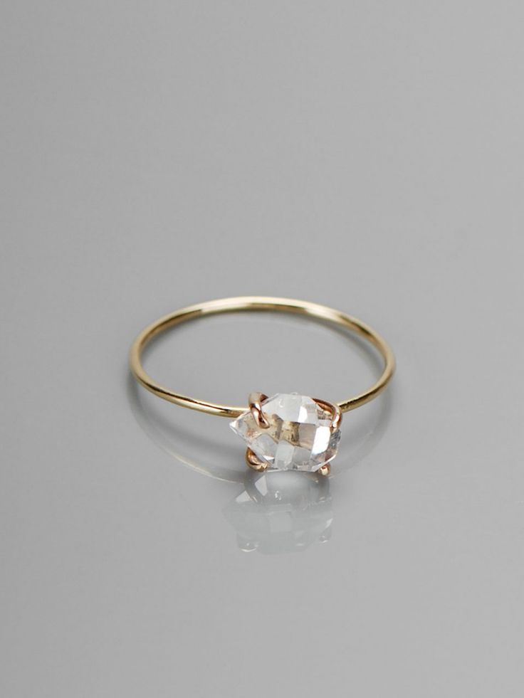 delicate herkimer diamond ring...if be afraid it'd fall out but it's so pretty!