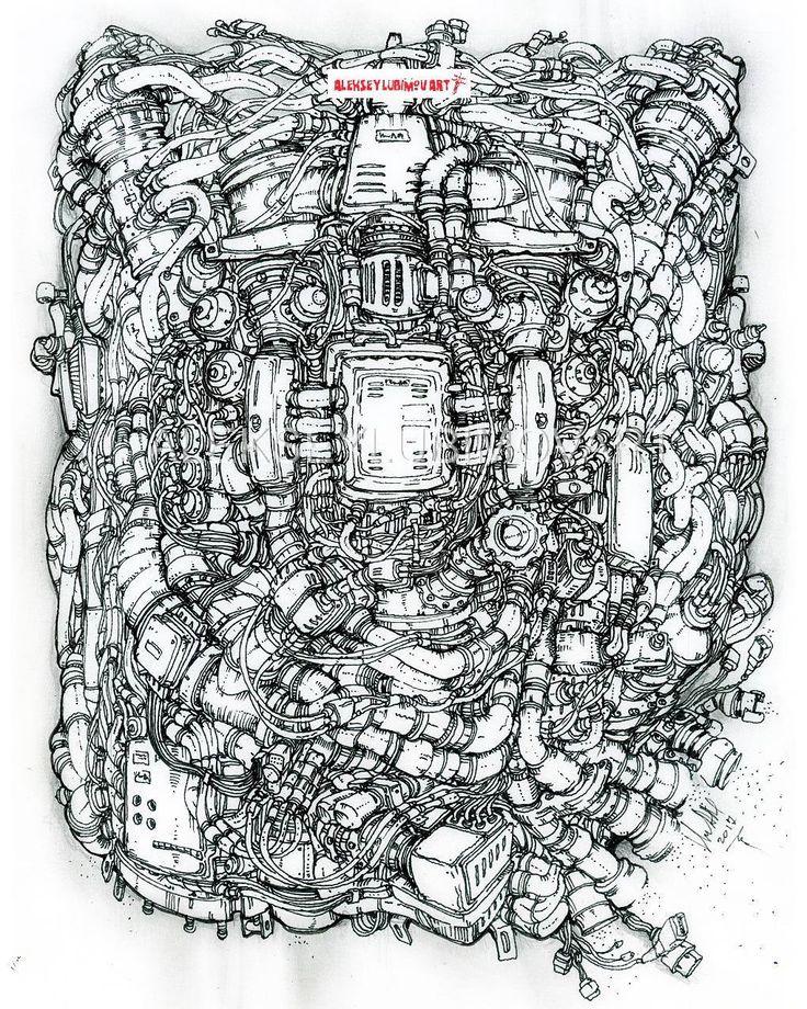 #Technodoodling Author Aleksey Lubimov. #алексейлюбимовбиомеханика #алексейлюбимов #стимпанк #дизельпанк #биомеханика #marchofrobots #steampunk #dieselpunk #alekseylubimov_art #biomechanical #lineart #engine #motor