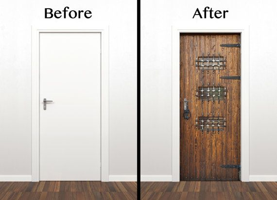 Old wooden Door decal sticker Peel and stick by StyleAwall on Etsy $149.99