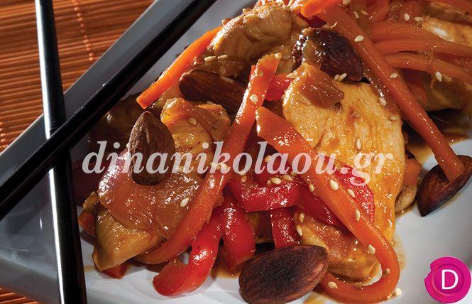 Κοτόπουλο γλυκόξινο με Μοσχάτο   Dina Nikolaou