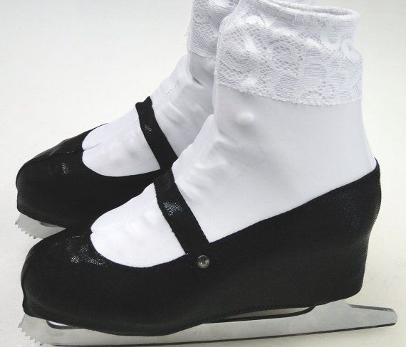 Annie Skate Boot Covers / Mary Jane Skate Boot Covers / Figure Skating / Ice Skating / Roller Skating, Skating as Annie, or Alice in Wonderland? These black patent leather looking Mary Jane boot covers will complete your look!