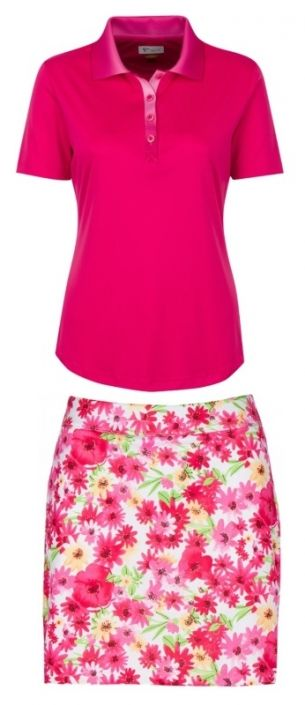 Pretty in Pink (Pink Orchid/Floral) Greg Norman Ladies & Plus Size Golf Outfits (Shirt & Skort)! More stylish ladies outfits at #lorisgolfshoppe