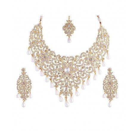 Aurum collection pearl cz kundan necklace set 2200523 - Necklace Sets - Fashion Jewelry