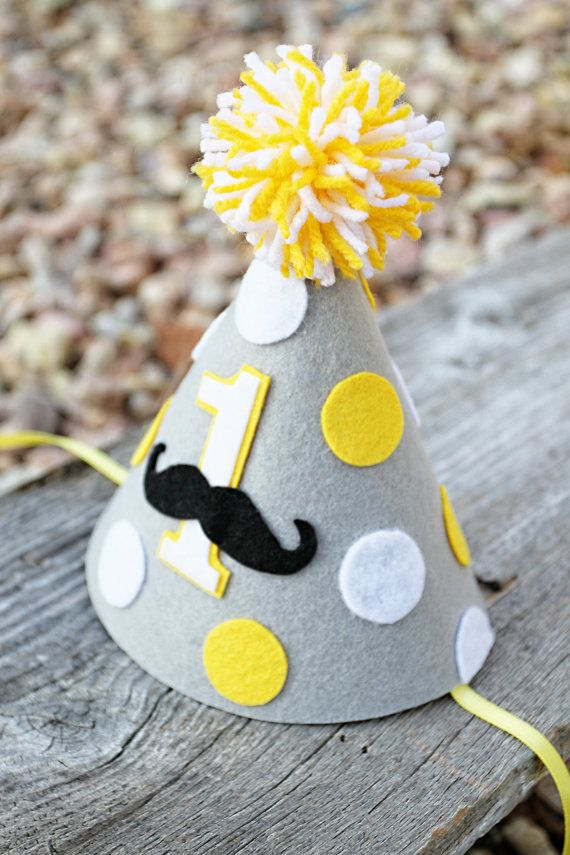 Boys 1st Birthday Party Hat Felt Mustache By LaLaLolaShop