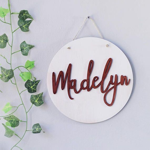 Baby Name Plaque For Nursery - Scandinavian Wall Hanging - Kids Room Decor - Wooden Nursery Name Sign - Baby Shower Gift - Home Decor