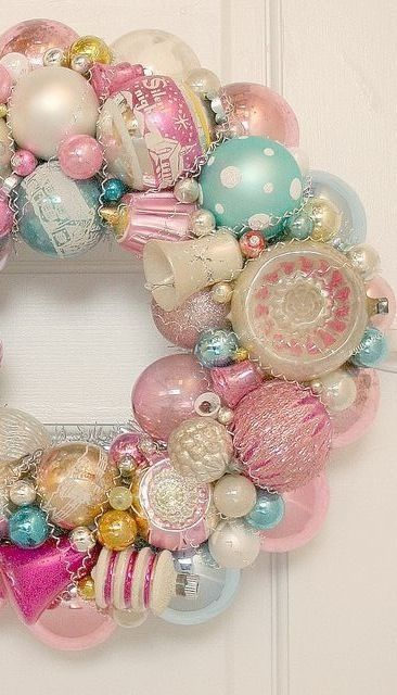 Vintage pastel ornament christmas wreath