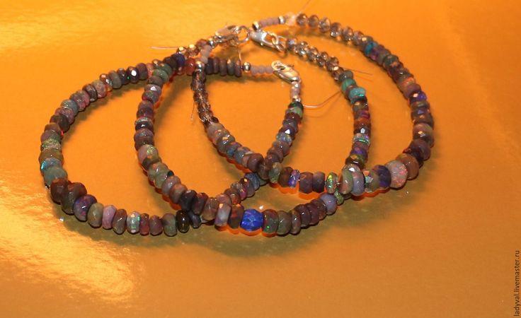 """Купить Браслет""""ФИЕРИЯ""""-опал чёрный натуральный Эфиопия . - тёмно-синий, редкость, редкие камни"""
